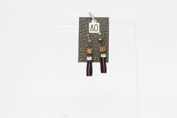 Boucles d'oreilles rectangulaires noires avec pierres - Ariane Ouellet